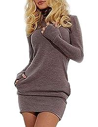 Las Mujeres En Otoño Sudaderas Vestido Casual De Largas Mangas Cuello Alto Especial Estilo Slim Fit Pullover Camiseta Vestidos Otoño Invierno