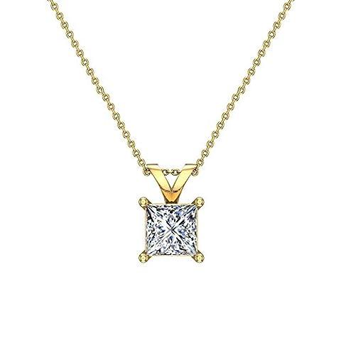 3/8 ct tw SI G Natural Princess Cut Diamond Solitaire Pendant Necklace 14K Yellow Gold