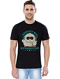 The Souled Store SP: Respect My Authoritah Cartoons Printed Premium BLACK Cotton T-shirt for Men Women and Girls