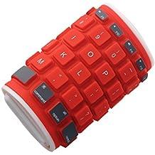 dizauL Clavier Bluetooth clavier universel sans fil étanche en silicone pliable,rouge