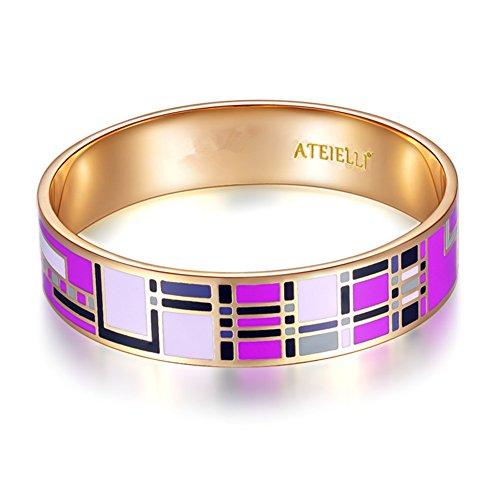 ATEIELLI® Armreif Rosegold Überzogen Emaille Lila Geometrisch Muster Damen Geschenk #JW-B58