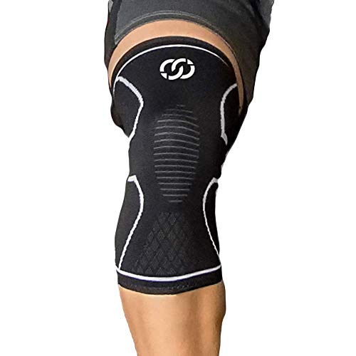 Compressions Kniebandage für Männer, Frauen, Jugendliche, Meniskusriss, Arthritis, Laufen, Ballstabilisator, Gewichtheben und Sport Mittel Schwarz mit Weiss
