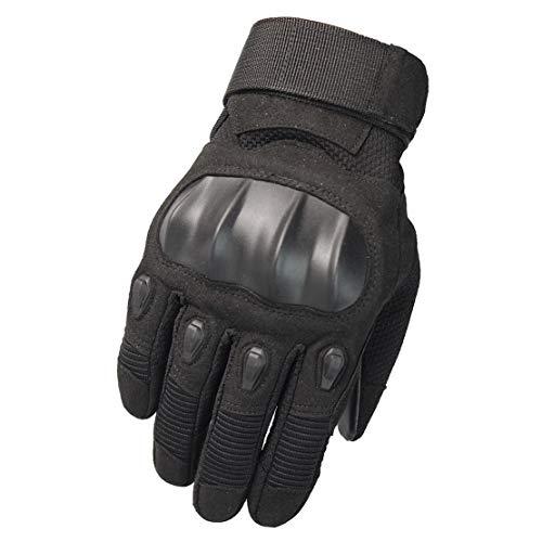 Guanti da Moto Nylon Guanti Tattici a Dito Pieno Forte Traspirabilità/Elasticità con Touch Screen per Motociclo, Equitazione, Sciare,Black,L