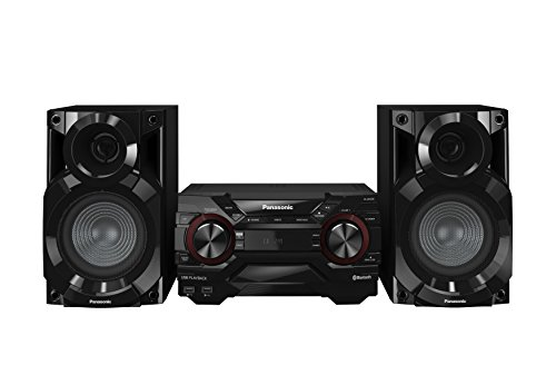 Panasonic SC-AKX200E-K Kompaktes CD Musiksystem (Bluetooth, Radio Tuner (FM/AM), 2x USB, AUX-IN, DJ Jukebox, 400 Watt RMS) schwarz (Bass-midi)