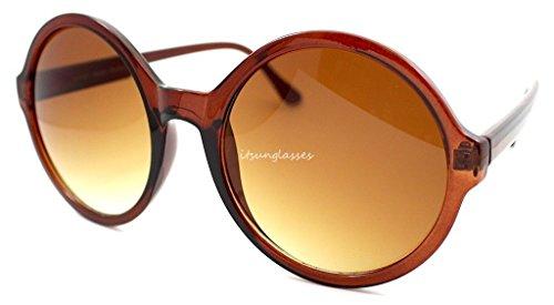 Braun Damen Big Circle Rahmen rund Moderne Retro Damen Gaga Brille Sonnenbrille