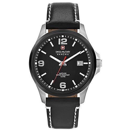SWISS MILITARY-HANOWA Herren Analog Quarz Uhr mit Leder Armband 06-4277.33.007