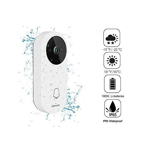 Wi-Fi Enabled Video Doorbell,960P HD IP65 Waterproof Smart Doorbell Security Camera with Free Indoor Chime, Cloud Storage, Night Vision, Two-Way Audio Talk and App Control for iOS and Android