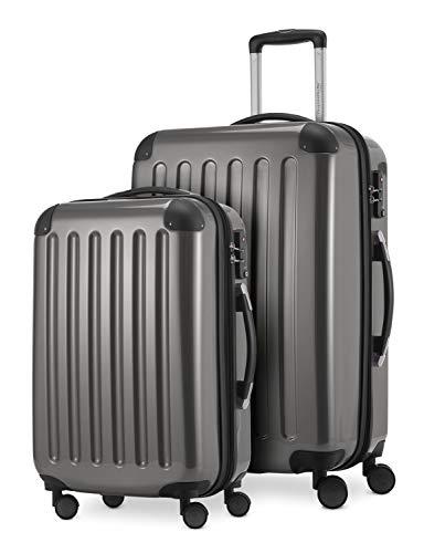 HAUPTSTADTKOFFER® · Set de 2 Valises à coque dure · Valise cabine de 45 litres + Valise de 87 litres · Serrure TSA (Titane)