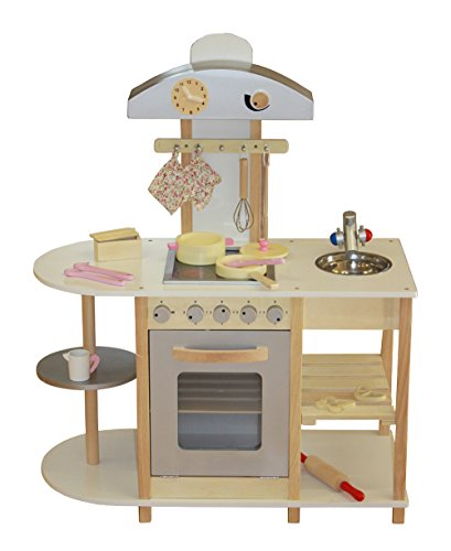 Liberty House Toys Breakfast Bar Kitchen Wooden Toy with Accessories (Grey)