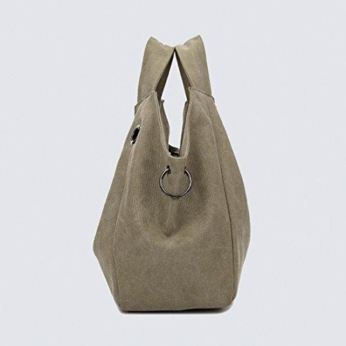 Handtasche, iTECHOR Damen Modische Spezial Design Leinwand Canvas Große Kapazität Handtasche Einkauftasche Hobotasche Khaki