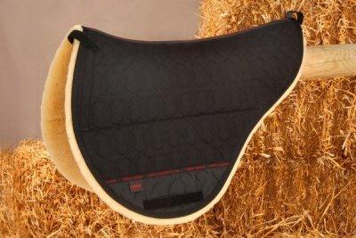 Christ Sattel-Pad für baumlose Sättel Standard, Stoff: schwarz, Lammfell: natur, Gr. WB