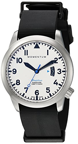 Momentum Men's Quartz Stainless Steel and Rubber Casual Watch, Color:Black (Model: 1M-SP18LS11B)
