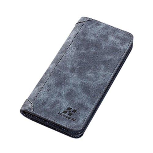 YULAND Geldbeutel Männer - blockieren kurze Leder Brieftasche Kartenhalte - Geldbörse mit Münzfach (Blau) (Mens Licht Blau Kurze)