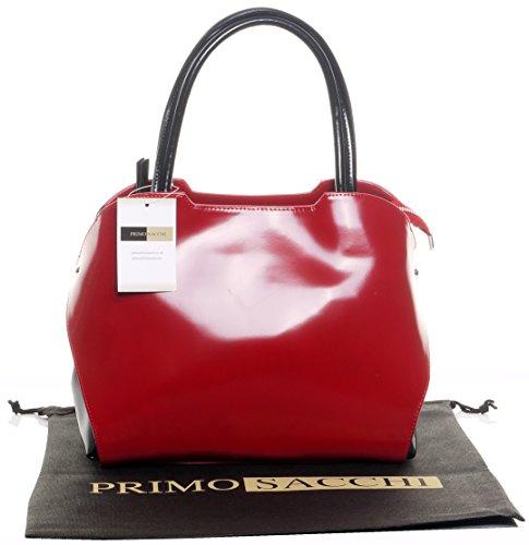 Italiano vernice Tote grande Grab Bag o borsa a tracolla con cinghia regolabile.Fornita nella pratica custodia protettiva Rosso e nero
