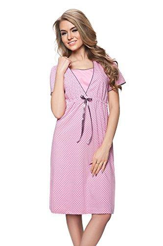 DOROTA Bezauberndes und bequemes Baumwoll-Stillnachthemd mit Bustier, rosa-gepunktet, Gr. M -