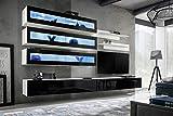Anbauwand Wohnwand Wohnzimmer Schrankwand Fly C Hochglanz PVC LED Beleuchtung - Fly J2 WS