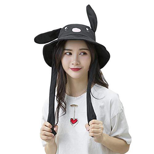 Womdee Beweglicher Ohr-Kaninchen-Hut, Kaninchen Hutes Kneifen Kaninchen Ohren Airbag Beweglich Hutes als Geschenk für Frauen und Kinder Schwarz