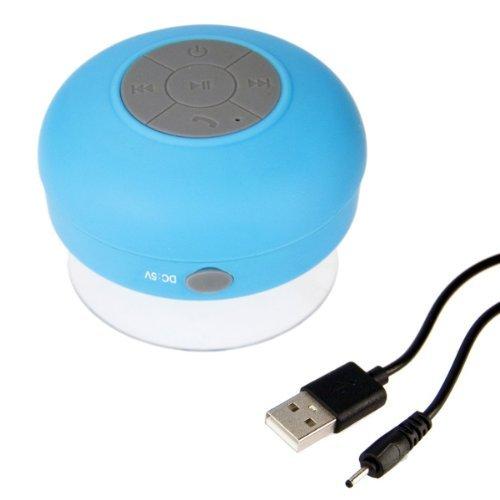 Impermeable Portatil Inalambrico Bluetooth 3.0 Mini Altavoz 3W Ducha Piscina Manos Libres de Coche con Microfono - Altavoz de Viaje con micrófono y batería interna recargable para Teléfonos Móviles - Compatible con iPhone, Samsung Galaxy, Nokia, HTC, Blackberry, Google, LG, Nexus, iPad, Tabletas, - azul calidad de OPEN BUY