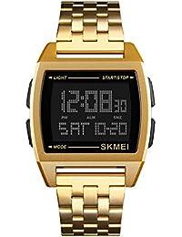 Relojes Pulsera Multifunción Outdoor Esfera Metálica Rectangular Digitale Relojes Hombre Correa de Acero Inoxidable Negocios Deportivo