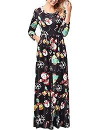 11c05f47c3 Vestido de Navidad para Mujer Fiesta de Navidad con Estampado de Navidad  Vestido Largo y Largo