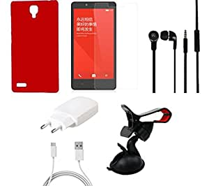 NIROSHA Tempered Glass Screen Guard Cover Case Charger Headphone Mobile Holder for Xiaomi Redmi Note - Combo