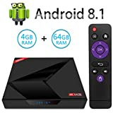 Android 8.1 TV BOX, X88 MAX+ Android Smart Box with 4GB RAM 64GB ROM RK3328 Quad-Core 64bit Cortex-A53 CPU 2.4GHz&5GHz Dual Band WiFi USB 3.0 Bluetooth 4.1