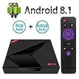 TV Box Android tv sistema 8.1, Sidiwen X88 MAX + 4 GB RAM 64 GB ROM RK3328 Quad-Core con 2.4G / 5G Dual-band Wifi Bluetooth 4.1 Supporto 4K 3D, Smart TV Box
