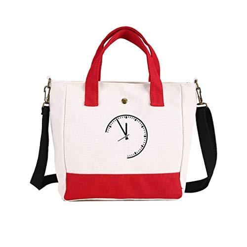 Kairui Griff-Einkaufstasche, Baumwollsegeltuch-Crossbody-Umhängetasche Geldbörse Reisetasche Shopping Hobo Multifunktionstasche (rot/schwarz/blau) (Color : Red) -