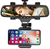 RKM- Universal 360 Degree Rotation Mobile car Rear View Mirror Mount Stand| Adjustable Car Mount Holder Supports Upto 6.5 inch Mobiles