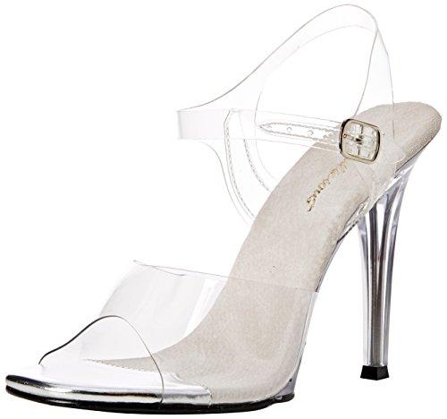 Fabulicious Damen GALA-08 Offene Sandalen, Transparent (CLR Lucite), 38 EU Heel Ankle Wrap