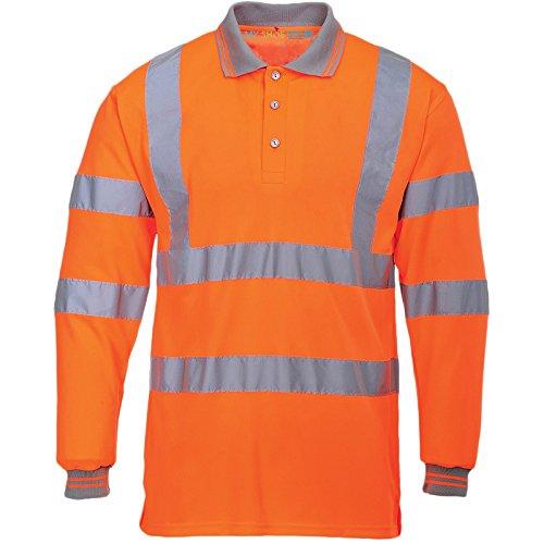 MYSHOESTORE® Hi Viz Vis ad alta visibilità polo nastro riflettente sicurezza lavoro Pulsante superiore maglietta traspirante leggero doppio nastro Workwear Plus Big King Size Orange / Long Sleeve