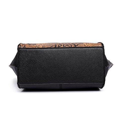 Miss Lulu Damen Klassische Handtasche Winged Schultertasche Groß Umhängetasche Taschen 6615 Black