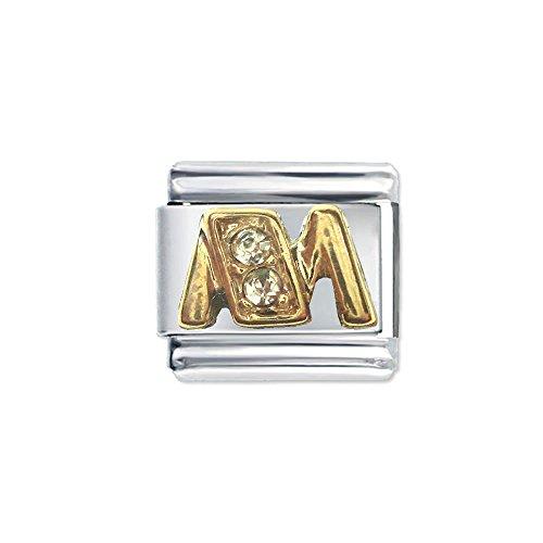 Quiges - 9mm Italian Style Charm Modul Edelstahl Alphabet Buchstaben M für Italienische Armbänder