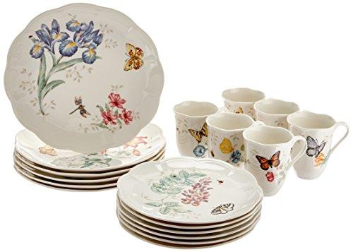 Lenox Butterfly Meadow Geschirr-Set Essgeschirr-Set, 18-teilig 18 Piece Dinnerware weiß Butterfly Meadow China