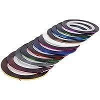 Haodou 32 colores / set cinta de Uñas línea de cinta de colores mezclados para la decoración de uñas rollo de rayas