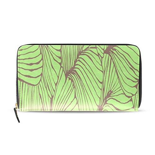 Green Ginkgo Leaf Long Passaporto Frizione Borse Portafoglio con cerniera Borsa Borsa Money Organizer Bag Porta carte di credito Per Lady Donna Ragazza Uomo Regalo di viaggio