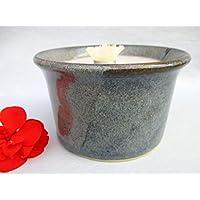 Kerzenfresser Keramik, Kerzenrestefresser, Outdoor, ca. 12 x 7 cm,zum Schmelzen von Wachsresten, Tischfackel, Kerzen Recycling, Gartenfackel, mit windfestem Dauerdocht, reine Handarbeit