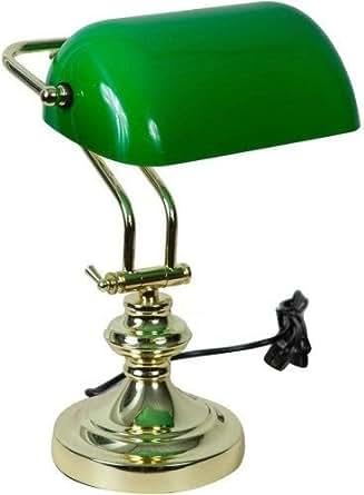 Lampada da tavolo ministeriale vetro verde in ottone - Lampada da tavolo verde ...