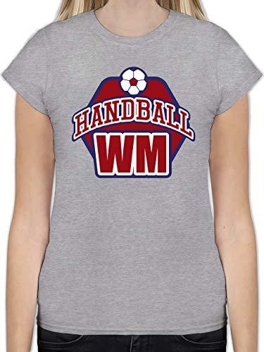 Handball WM 2019 - Handball WM 2019 - M - Grau meliert - L191 - Tailliertes Tshirt für Damen und Frauen T-Shirt