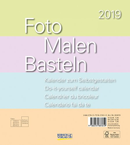 Foto-Malen-Basteln Pastell 2019: Kalender zum Selbstgestalten