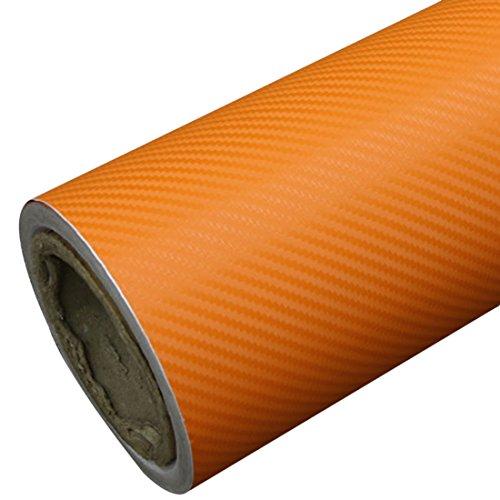 TOOGOO DIY 30 x 127 3D un Rouleau d'autocollant en fiber de carbone Autocollant en Vinyle Film adhesif pour la Voiture - Orange