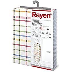 Rayen | Housse pour table à repasser Universelle XXL | 3 épaissuers: mousse, molleton et tissu 100 % coton | Gamme Medium de Rayen | 150 x 55 cm | Rayures de couleur