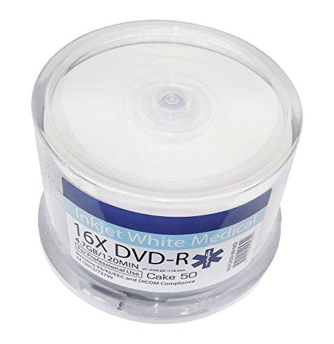 50 Bedruckbare Medical DVD Rohlinge Archival Pro DVD-R 4,7GB Wide Inkjet Printable weiß, vollflächig bedruckbare Oberfläche für Tintenstrahldrucker -