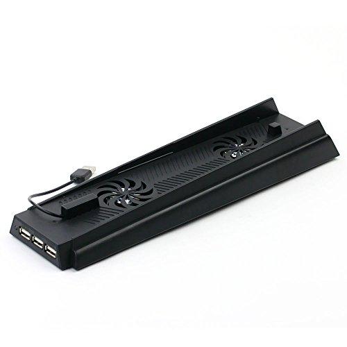 subtel® 3 in 1 Halterung + Kühler + 3-Port USB Hub für Sony PlayStation 4 / PS4 Standfuß Lüfter Cooler rutschfest