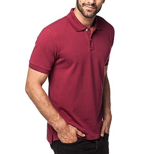 Lapasa Herren Poloshirt, Polo T-Shirt - M019, M, Weinrot (2-knopf-polo-shirt)