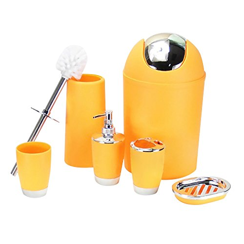 Rcool Bathroom Set 6 Pieces Accessory Bin Soap Dish Dispenser Tumbler Toothbrush Holder (Yellow)