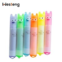 Westeng Mini Highlighter Pens Cute Permanent Markers Fine Point Tip Novelty Stationery Assorted Colours, Pack of 6 (A)