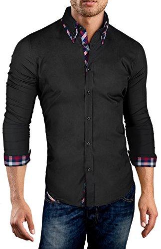 Grin&Bear Coupe Slim Chemise col à Contraste Homme, Manches Longues, Noir, M, SH520