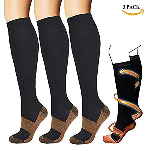 Neue Kupfer Compression Socks 3 Paar Anti Müdigkeit Kniestrümpfe Für Männer & Frauen Schmerz Ache Relief Strümpfe,L/Xl