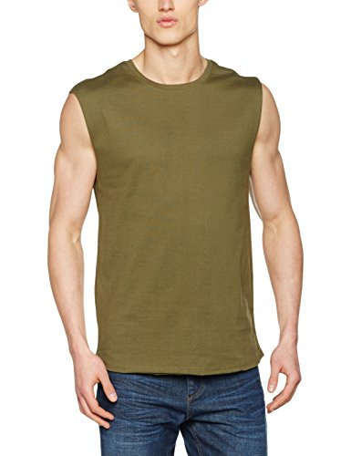Urban Classics Herren Open Edge Sleeveless Tee T-Shirt, Grün (Olive 176), X-Large -